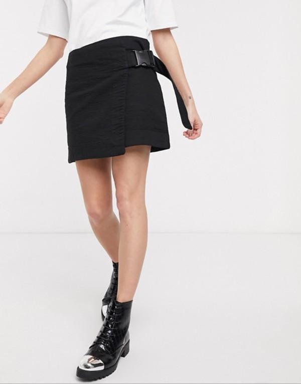 ウィークデイ レディース シャツ トップス Weekday wrap clip-belt mini skirt in black Black