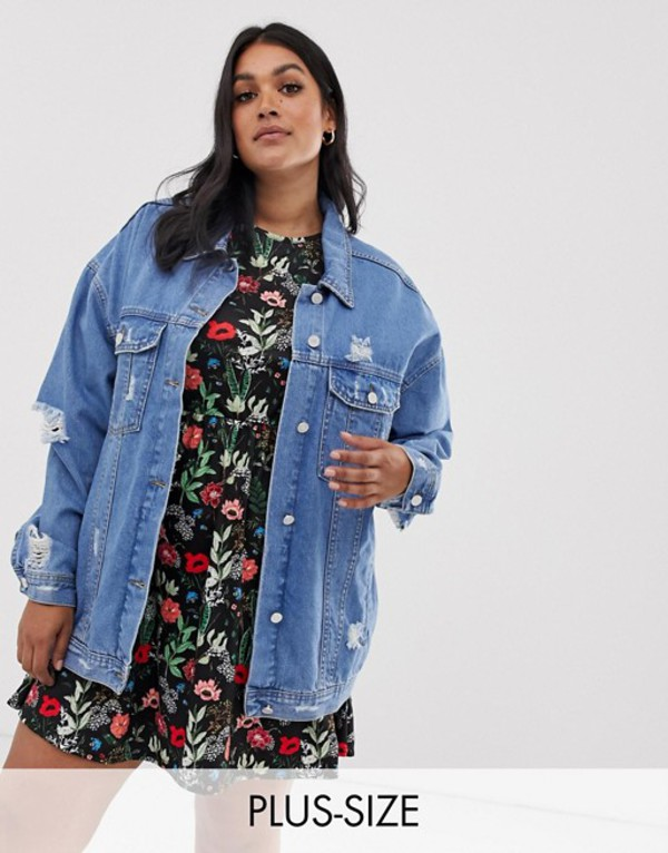 ミスガイデッド レディース ジャケット・ブルゾン アウター Missguided Plus oversized denim jacket in blue Blue