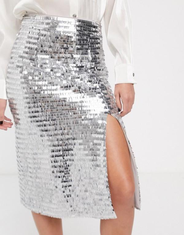 グラマラス レディース スカート ボトムス Glamorous midi skirt with split front in sequin Silver sequin