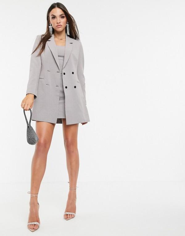 ミスガイデッド レディース ジャケット・ブルゾン アウター Missguided two-piece longline blazer in gray check Gray