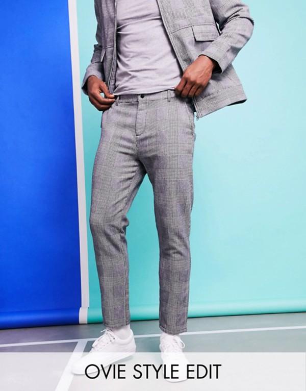 エイソス メンズ カジュアルパンツ ボトムス ASOS DESIGN two-piece slim pants in check Gray