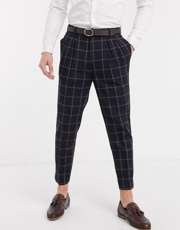 エイソス メンズ カジュアルパンツ ボトムス ASOS DESIGN smart tapered pants in navy wool mix check Navy
