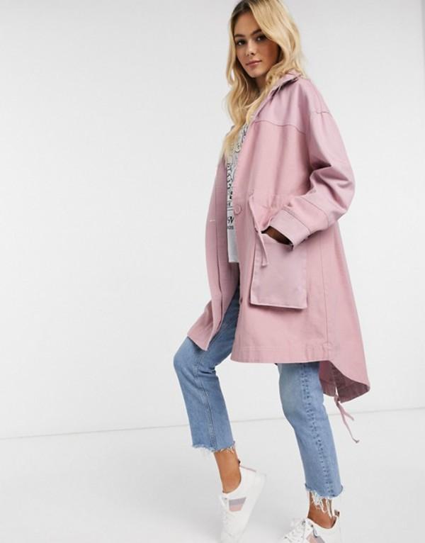 エイソス レディース ジャケット・ブルゾン アウター ASOS DESIGN fabric mix casual jacket in pink Pink