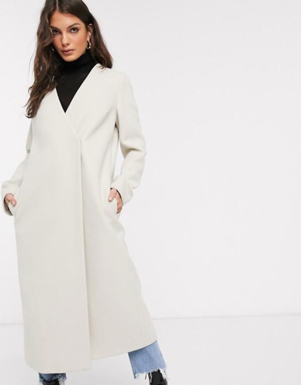 エイソス レディース コート アウター ASOS DESIGN collarless belted coat in cream Cream