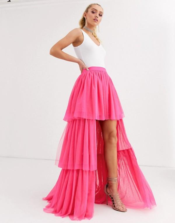 レース アンド ビーズ レディース スカート ボトムス Lace & Beads tiered high low maxi skirt in neon pink Neon pink