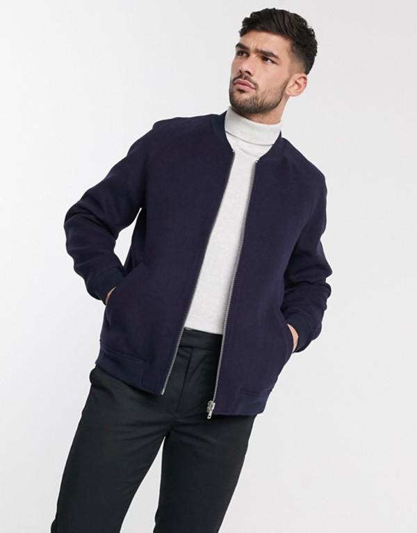エイソス メンズ ジャケット・ブルゾン アウター ASOS DESIGN wool mix bomber jacket in navy Navy