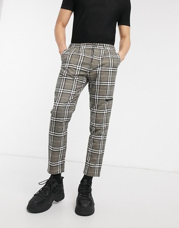 エイソス メンズ カジュアルパンツ ボトムス ASOS DESIGN cigarette pants in check with zip pocket Gray