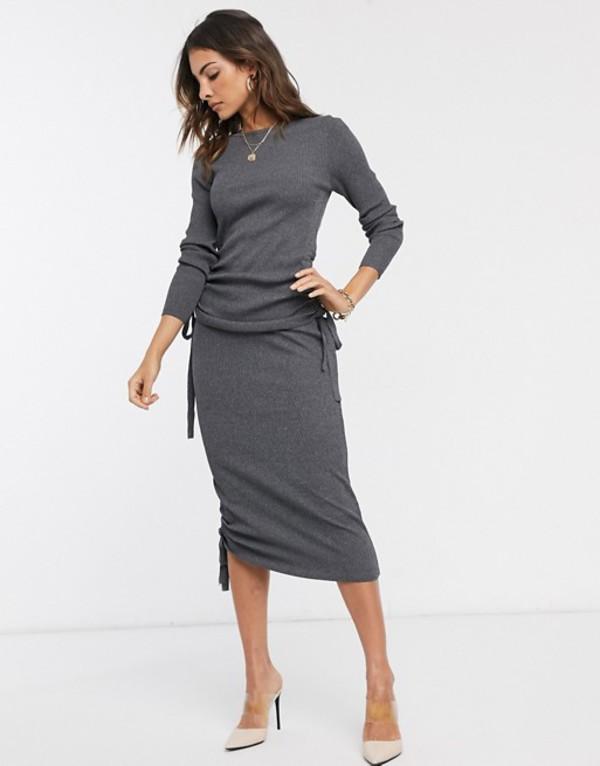 リバーアイランド レディース スカート ボトムス River Island ruched side skirt two-piece in charcoal Gray
