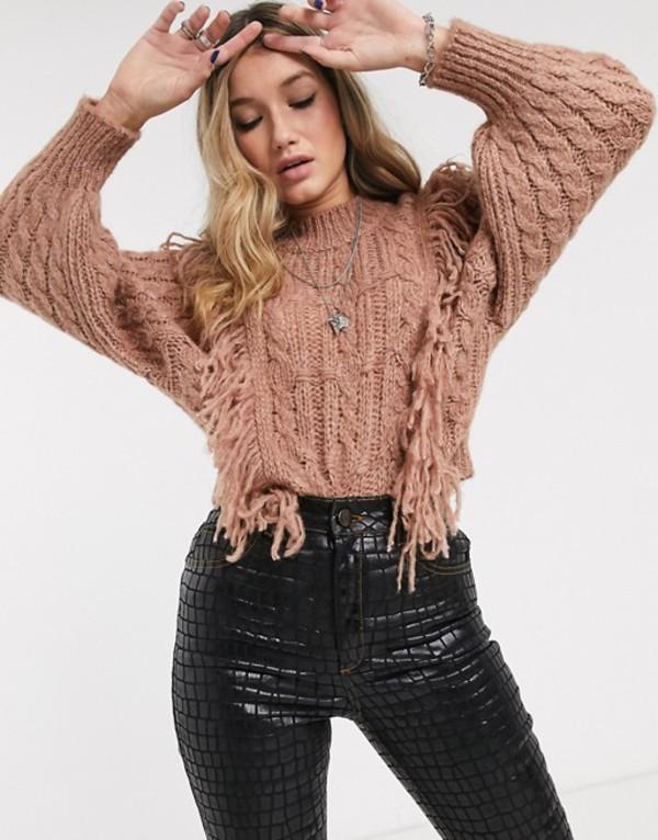 エイソス レディース ニット・セーター アウター ASOS DESIGN cable sweater with fringe detail Mink