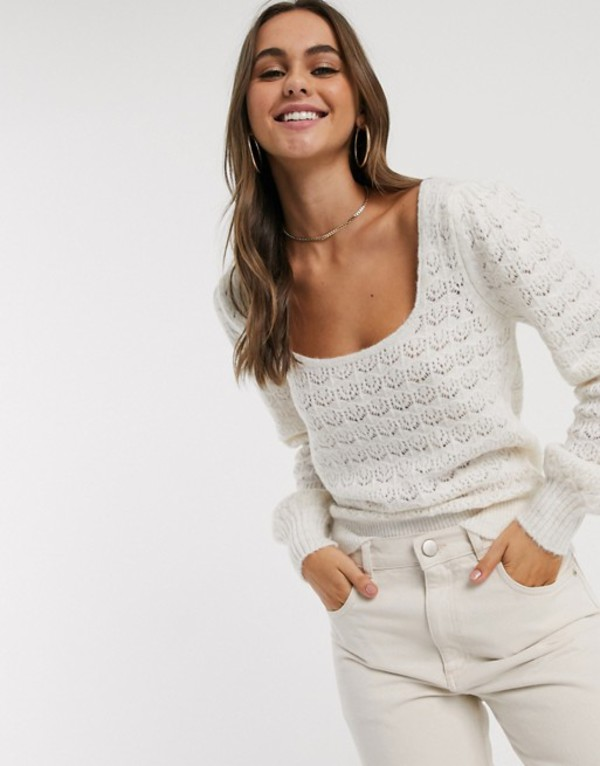 エイソス レディース ニット・セーター アウター ASOS DESIGN sweater with scoop neck and pointelle stitch Cream