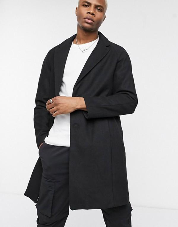 ベルシュカ メンズ コート アウター Bershka wool blend overcoat in black Black