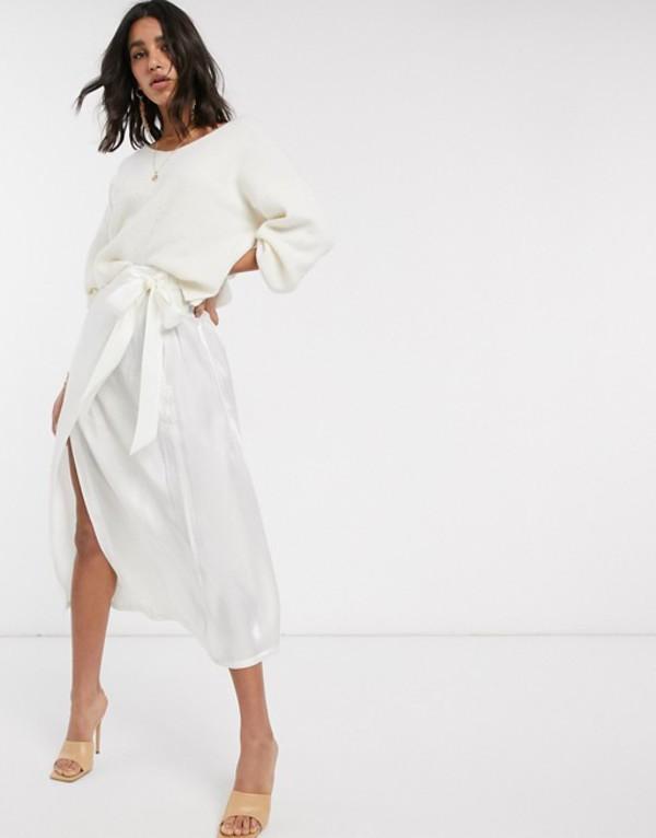 ワイエーエス レディース スカート ボトムス Y.A.S wrap skirt in white satin White