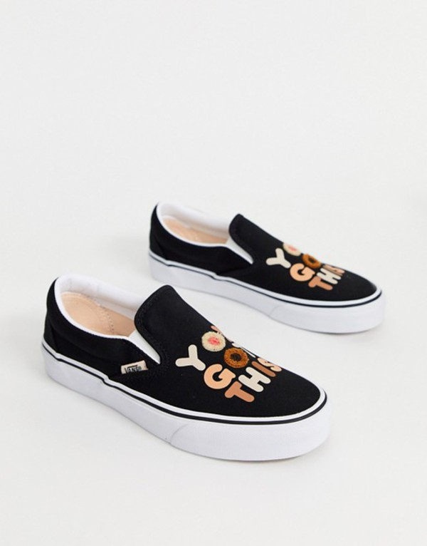 バンズ レディース スニーカー シューズ Vans Breast Cancer Awareness Classic Slip-On sneakers in white Iridescent check bla