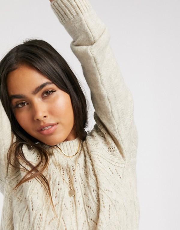 ヴェロモーダ レディース ニット・セーター アウター Vero Moda sweater with cable detail in cream Birch