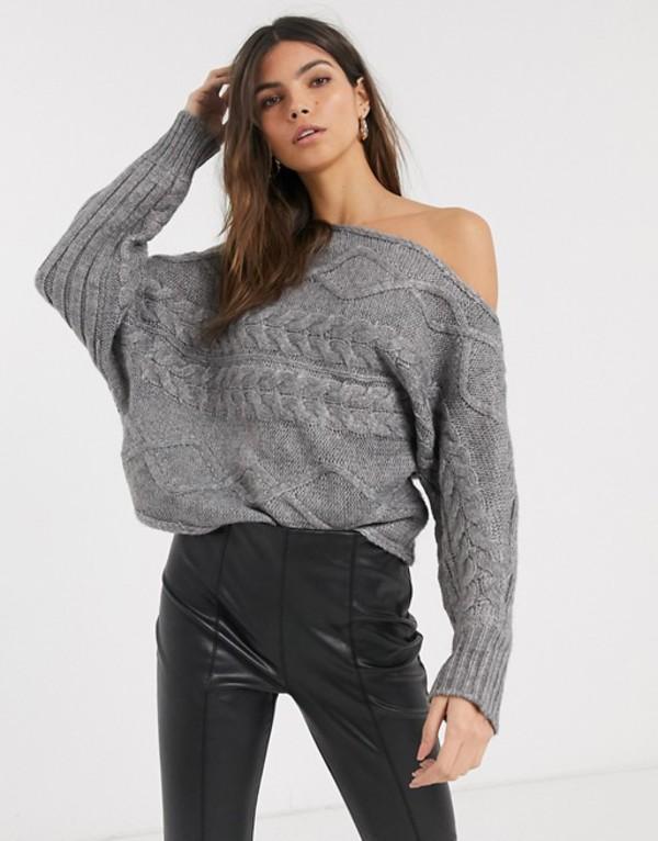 リバーアイランド レディース ニット・セーター アウター River Island cable knit asymmetric sweater in dark gray Gray
