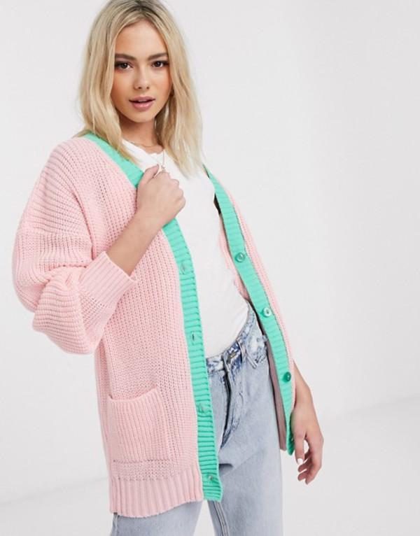 デイジーストリート レディース カーディガン アウター Daisy Street oversized cardigan in pastel knit Light pink