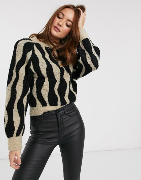 マンゴ レディース ニット・セーター アウター Mango sweater in abstract stripe Multi