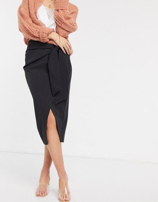 リバーアイランド レディース スカート ボトムス River Island wrap asymmetric pencil skirt in black Black