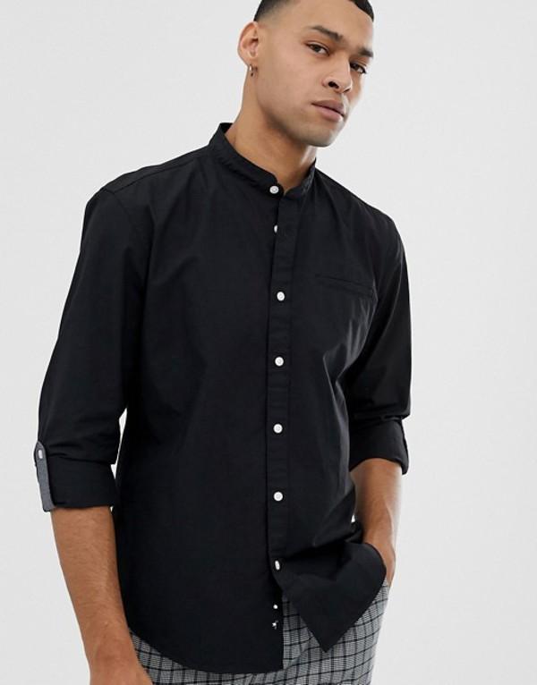 エスプリ メンズ シャツ トップス Esprit slim fit grandad collar shirt in black Black