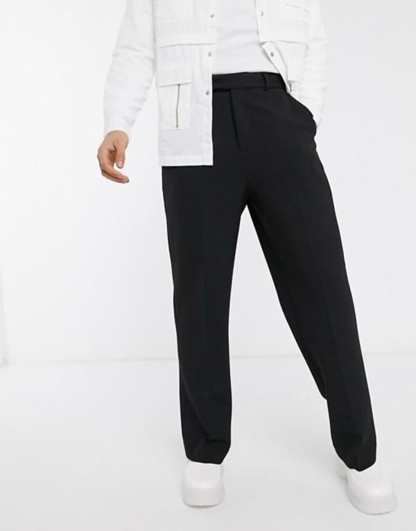 エイソス メンズ カジュアルパンツ ボトムス ASOS DESIGN wide leg smart pants in black Black