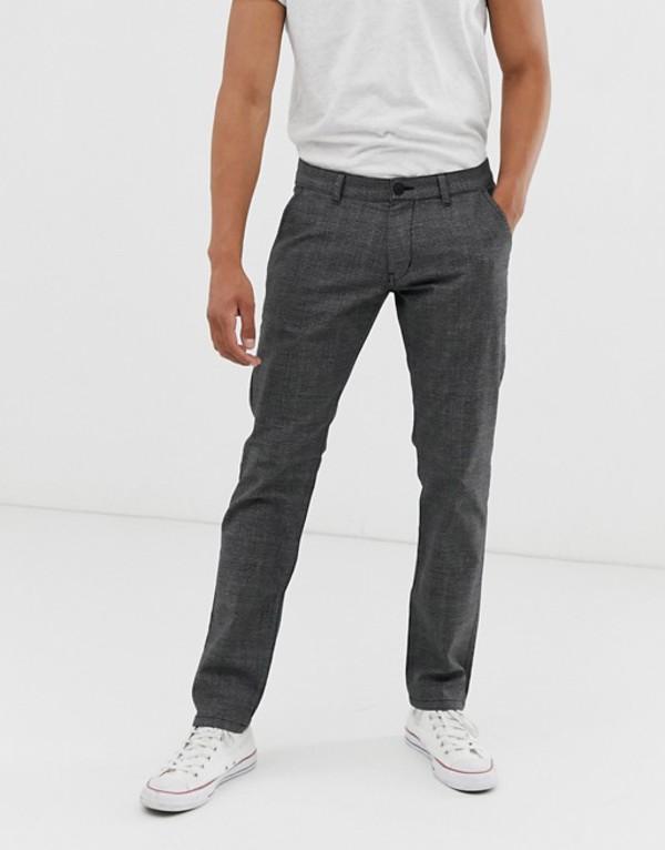 エスプリ メンズ カジュアルパンツ ボトムス Esprit check pants in slim fit Gray