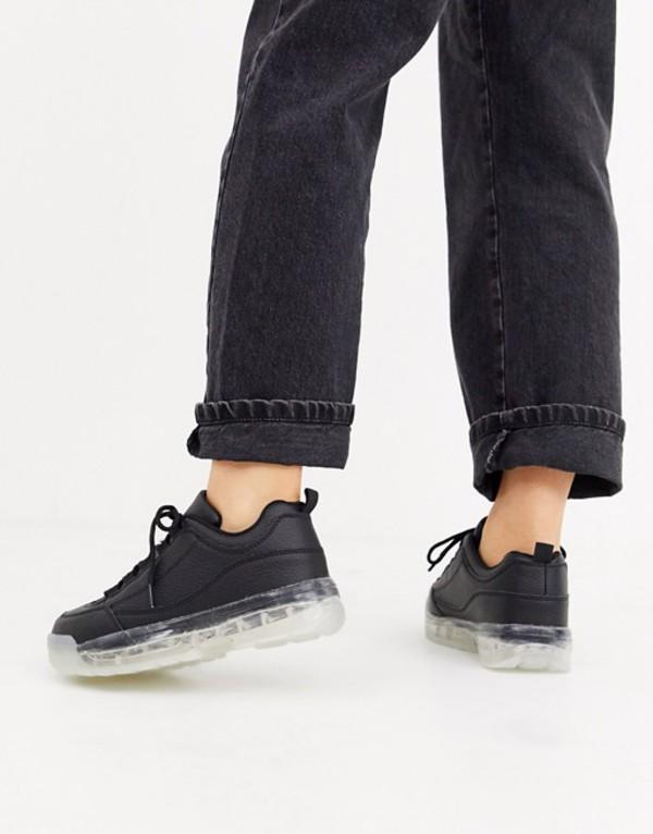 トリュフコレクション レディース スニーカー シューズ Truffle Collection clear sole chunky sneaker in black Black