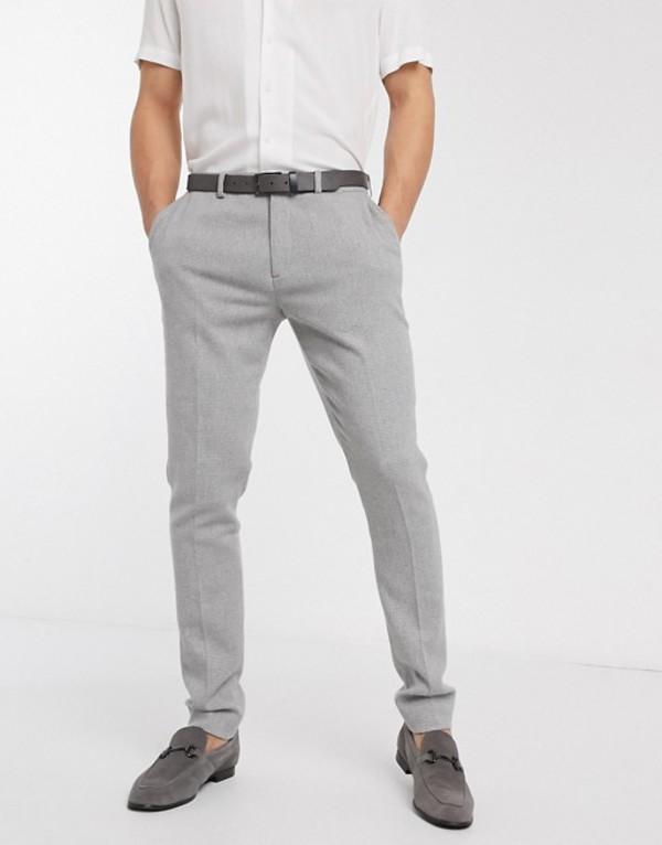 エイソス メンズ カジュアルパンツ ボトムス ASOS DESIGN super skinny smart pants in light gray dog tooth Gray