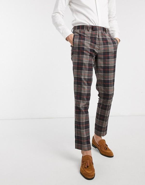 リバーアイランド メンズ カジュアルパンツ ボトムス River Island skinny smart pants in large brown check Navy