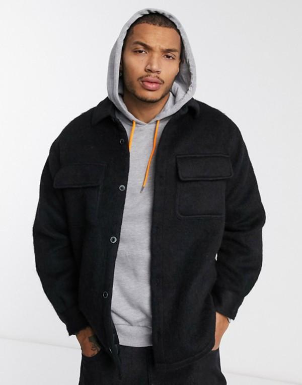 エイソス メンズ シャツ トップス ASOS DESIGN wool mix jacket in brushed black Black