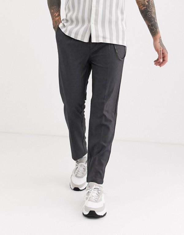 プルアンドベアー メンズ カジュアルパンツ ボトムス Pull&Bear tailored pants with chain in gray Gray