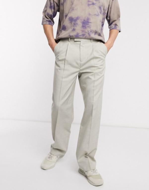 エイソス メンズ カジュアルパンツ ボトムス ASOS DESIGN smart wide leg pants in textured stone Stone