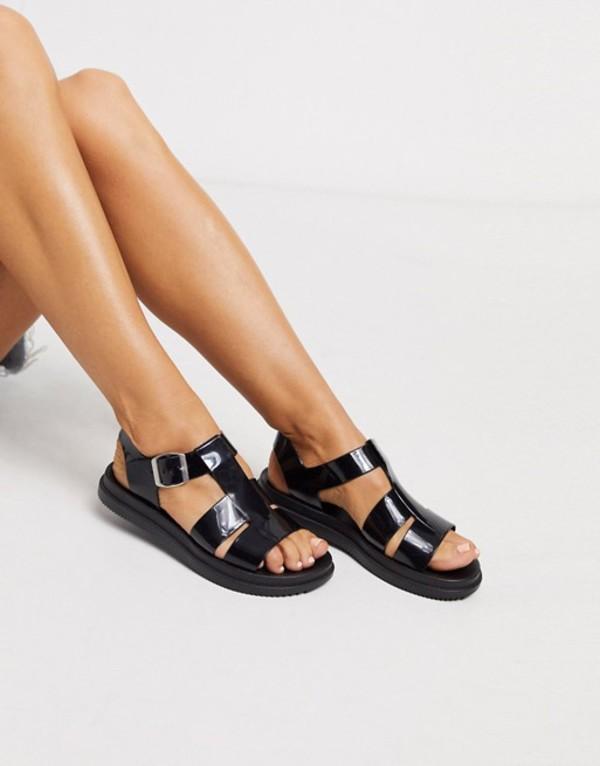 ロンドンレベル レディース サンダル シューズ London Rebel gladiator jelly sandal in black Black
