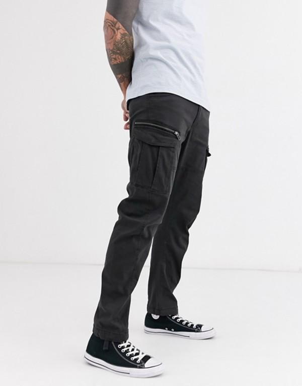 ジャック アンド ジョーンズ メンズ カジュアルパンツ ボトムス Jack & Jones Intelligence cargo pants in black Black