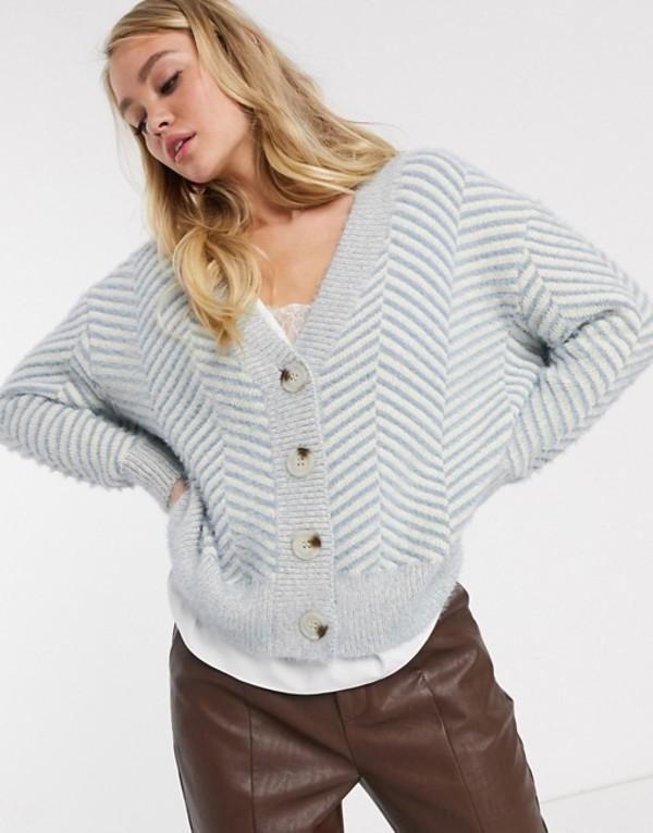 ファッションモンキー レディース カーディガン アウター Fashion Union knitted cardigan with chevron pattern Blue