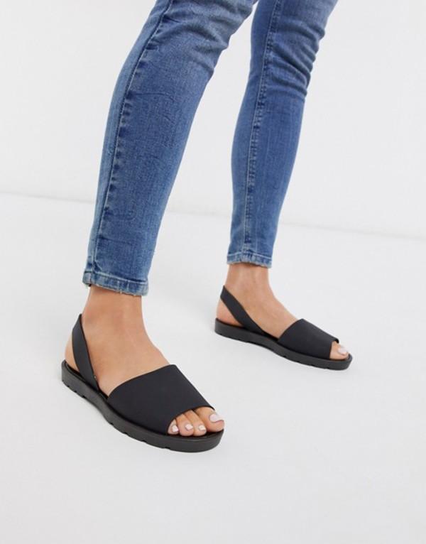 ロンドンレベル レディース サンダル シューズ London Rebel slingback jelly sandal in black Black