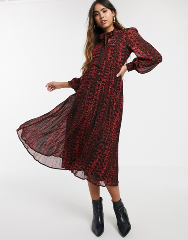 ウエアハウス レディース ワンピース トップス Warehouse pleated midi dress with pussybow tie in red print Red print