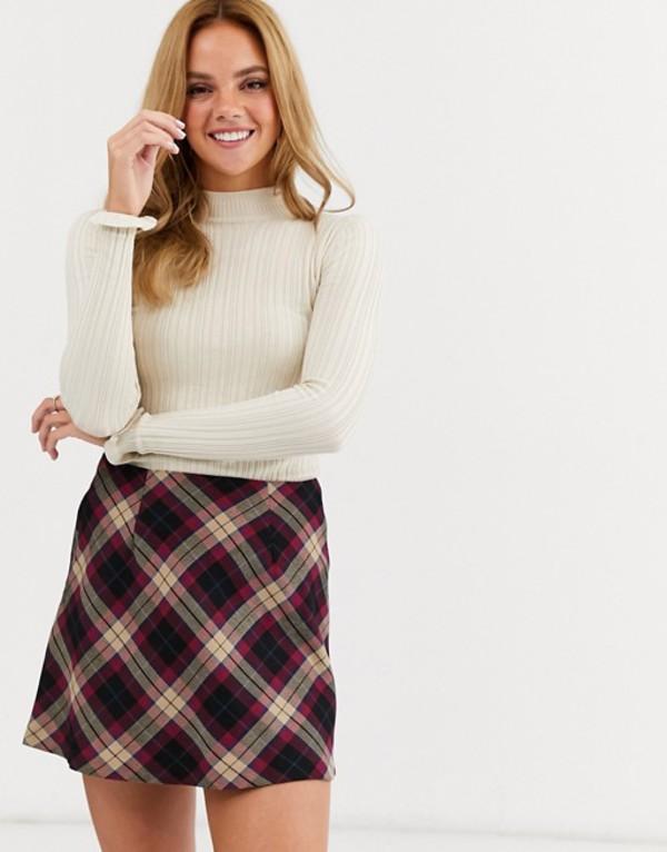 ミスセルフフリッジ レディース ニット・セーター アウター Miss Selfridge frill rib sweater in oatmeal Cream