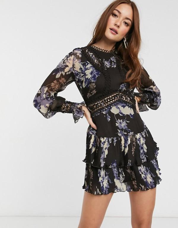 エイソス レディース ワンピース トップス ASOS DESIGN mini dress with lace detail in print Floral print