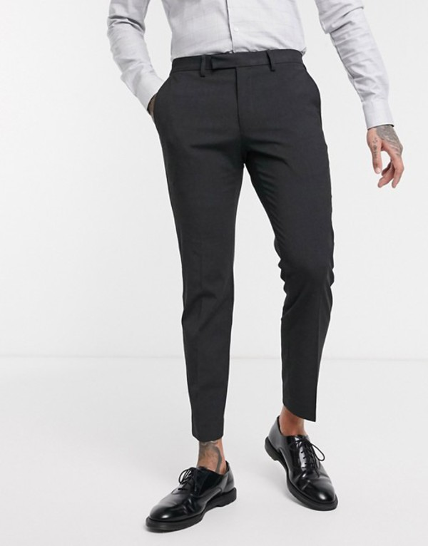 モス ブラザーズ メンズ カジュアルパンツ ボトムス Moss London pants with black side stripe in gray Gray black