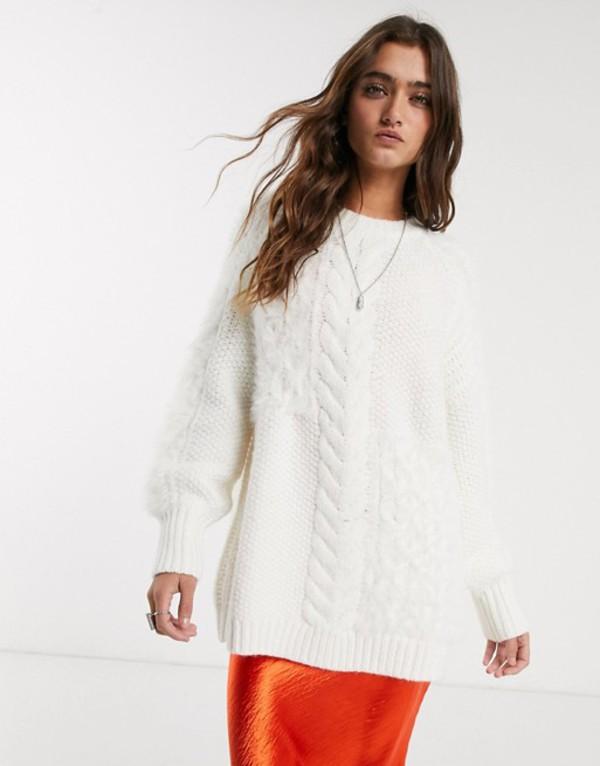 ベルシュカ レディース ニット・セーター アウター Bershka longline cable knit sweater in ecru Ecru
