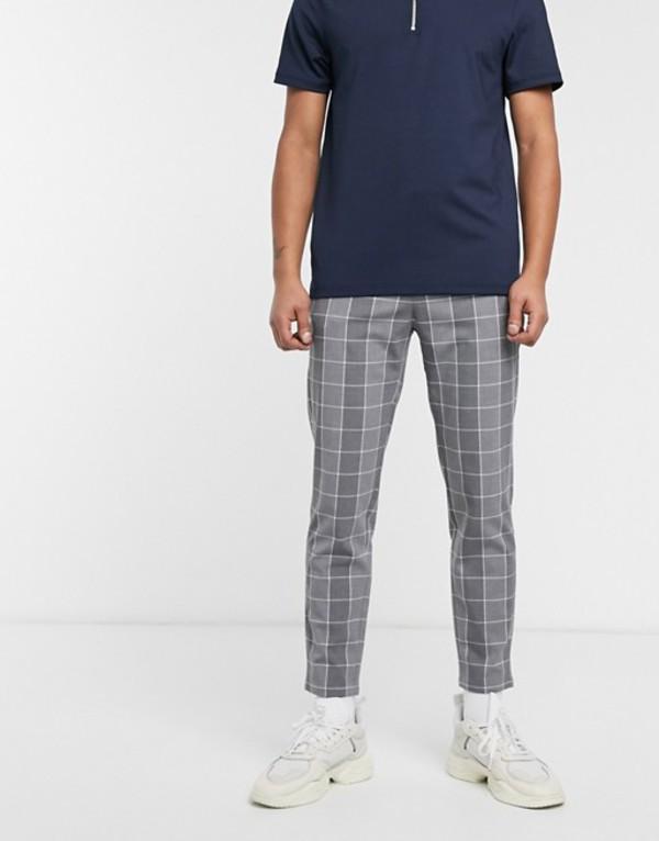 ベルシュカ メンズ カジュアルパンツ ボトムス Bershka skinny windowpain check pants in gray Gray