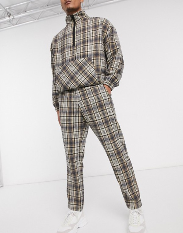 メニス メンズ カジュアルパンツ ボトムス Mennace natural wool check tapered pants Beige