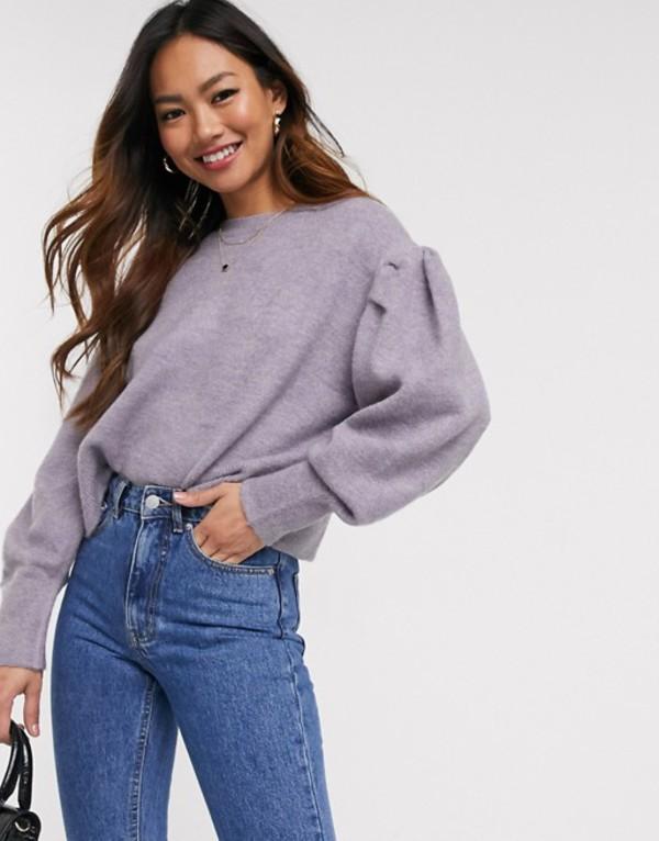 プルアンドベアー レディース ニット・セーター アウター Pull&Bear volume sleeve sweater in lilac Purple