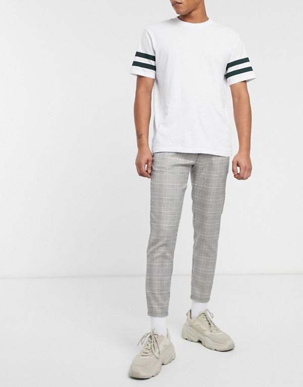 プルアンドベアー メンズ カジュアルパンツ ボトムス Pull&Bear skinny fit pants in gray check Gray