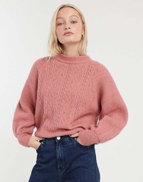 モンキ レディース ニット・セーター アウター Monki pointelle knit sweater in pink Pink