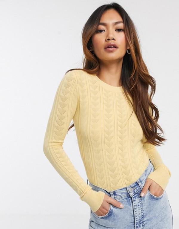 ミスセルフフリッジ レディース ニット・セーター アウター Miss Selfridge rib sweater in lemon Yellow