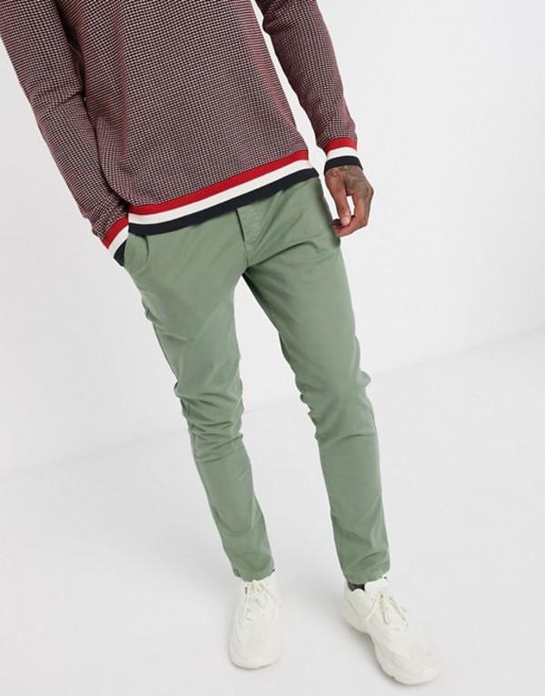 セレクテッドオム メンズ カジュアルパンツ ボトムス Selected Homme organic cotton skinny fit chino pants in light green Sea spray