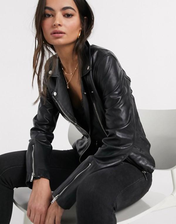 ストラディバリウス レディース ジャケット・ブルゾン アウター Stradivarius real leather jacket in black Black
