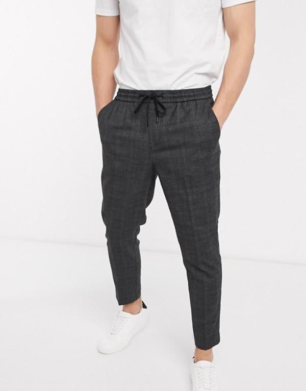 ニュールック メンズ カジュアルパンツ ボトムス New Look tonal check pull on pants in gray Green pattern