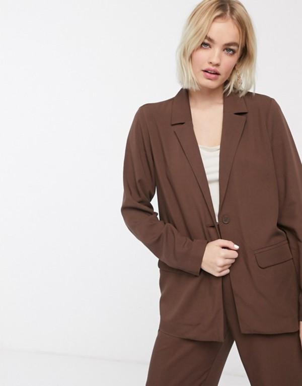 モンキ レディース ジャケット・ブルゾン アウター Monki utility blazer in chocolate brown Brown